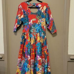 Vintage Two Dee's Tropical Print Dress
